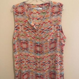CAbi Aztec Tunic Sleeveless Blouse sz XL